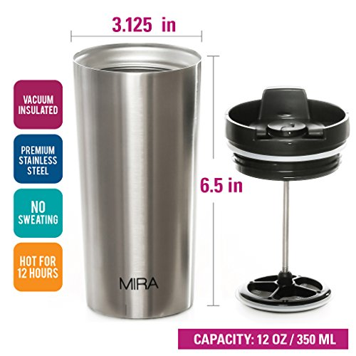 drtulz WB-TM-801 DFA Vacuum Insulated French Press Tea & Coffee | Stainless Double Walled Travel Mug Keeps Your Drink Hot & Cold | by Zell (Steel, 16 oz) (St, 12 oz