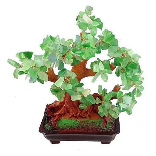 Feng-Shui-Glcksbaum-25-cm-Geldbaum-Bonsai-Pfennigbaum-Handarbeit-Stein-grn