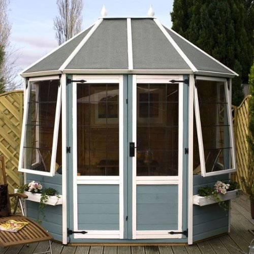 8ft x 6ft Shiplap Apex Wooden Garden Summerhouse - Brand New 8x6 Octagonal Tongue and Groove Wood Summerhouses