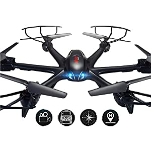 Webetop X600 2.4GHz 6-Axis Gyroscope Remote Control Aircraft Hexacopter with FPV Camera Drone,Black