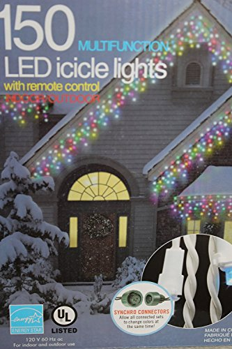 150 Multifunction LED 5 Different Color Icicle Lights with Remote Control and 8 Different Functions - 13 Ft Lighted Length, 15 Ft Total Length of String.