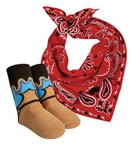 Stephan Baby Wild West Collection Bandana Style Bib And Cowboy Boot Socks Set, 6-12 Months