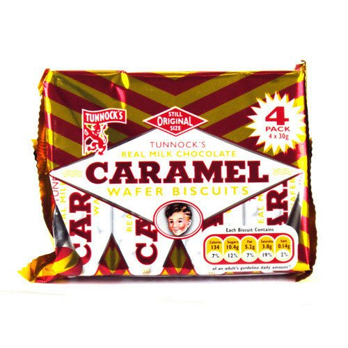 Tunnocks Milk Chocolate Caramel Wafers 4 Pack 100g