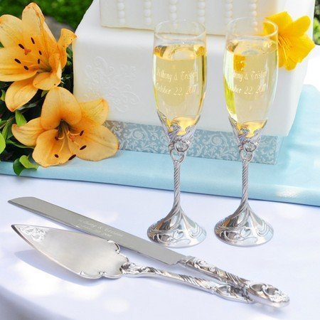 Exclusive Gifts And Favors-Satin Finish Champagne Flutes & Cake Server Set - Save 10% front-659223