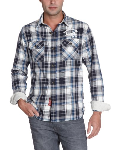 Replay Men's M4808 .000.51084 Casual Shirt Multicoloured (Blue Check 010) 46