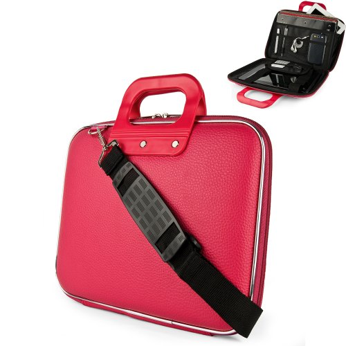 Magenta Pink Cady Cube Ultra Durable 12 inch Tactical Hard Messenger bag for your Sony VAIO T Series 13.3-Inch Touch Ultrabook with Extra Features: Reinforced durable constructions, Extra dividers and mesh pockets for other Tablets, eReaders, pens, papers, and other school supplies, and Secure Velcro Straps