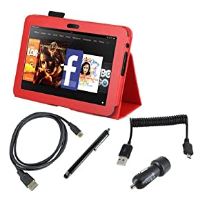 EEEKit Starter Kit for Kindle Fire HD 8.9 Accessory Bundle, Stand Case Red + Stylus Pen + Dual USB Car Charger + Micro USB Spring Cable + Micro HDMI Cable(1.8m)