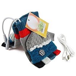 USB Knit Gloves Warmer Oenbopo Women\'s PC Laptop USB Heated Half & Full Finger Winter Warm Hand Gloves Warmer Wool(GS53)