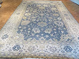 12 x 18 HAND KNOTTED BLUE OUSHAK ORIENTAL RUG VEGETABLE DYES G1757