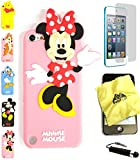 Bukit Cell ® 3D Cartoon Case Bundle - 4 items: ANIMATED MINNIE MOUSE Cute Soft Silicone Case Cover for iPod Touch 5 5G 5th Generation + BUKIT CELL Trademark Lint Cleaning Cloth + Screen Protector + METALLIC Stylus Touch Pen with Anti Dust Plug