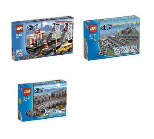 LEGO City Eisenbahn Bahnhof, Schienen, Weichen Set 7937, 7499, 7895