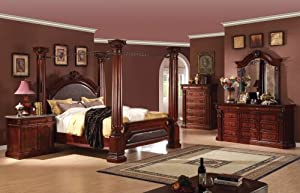 bed roman empire cherry finish 5 piece set bedroom furniture sets