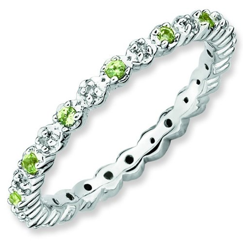 Size 6 - Peridot & Diamond Eternity Band Sterling Silver Stackable Ring