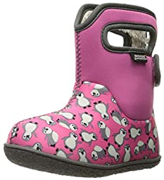 Bogs Baby Classic Penguins Winter Snow Boot (Toddler), Pink/Multi, 6 M US Toddler