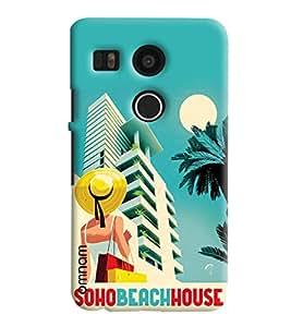 Omnam Soho Beach House Cartoon Designer Back Cover Case For LG Nexus 5 X
