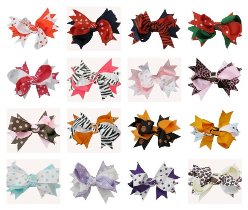 Double Tied Bows 16 Piece Assortment Cute Baby Girls Hairbows front-1019549