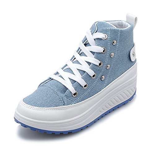 JiYe Womens's Rivetr Thick-Soled High-Top Fashion Sneakers  image