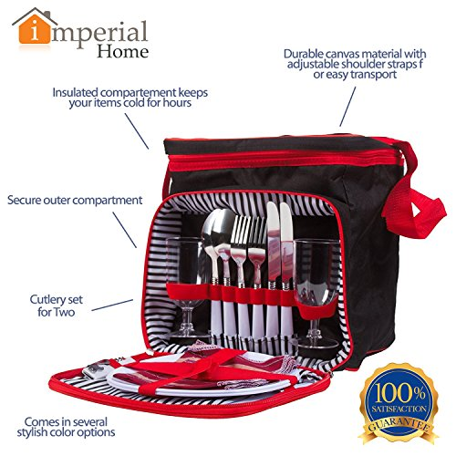 Buy Cheap Insulated Picnic Basket - Lunch Tote Cooler Backpack w/ Flatware Two Place Setting (Black ...