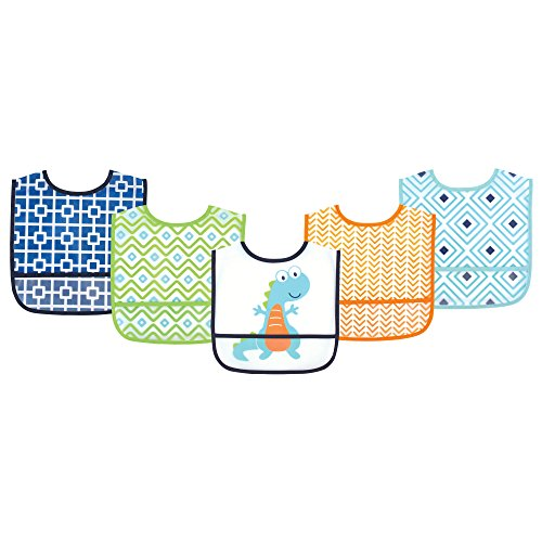 Luvable Friends Waterproof Bib 5-Pack, Dino