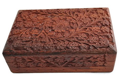 StarZebra Mothers Day Gift - Unique Artisan Handcarved Rosewood Wooden Jewelry Box From India - Lovely Gift Ideas