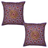 Indian Handmade Embroidery Work Design Mirror Work Cotton Cushion Cover 16 X 16 Inches Set Of 2 Pcs