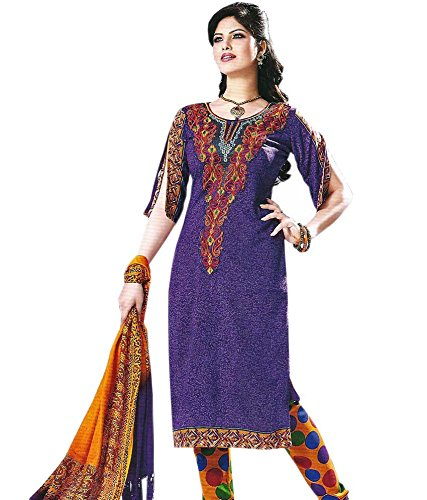 Shiva Collections Women's Straight Unstitched Salwar Suit (Blue)