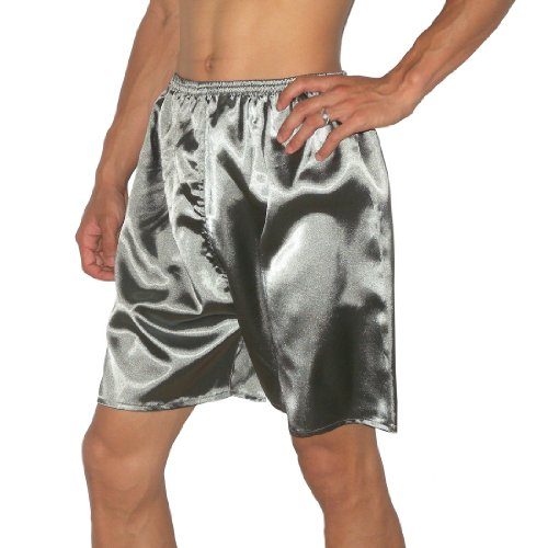 SILK COUTURE Mens Sleepwear - Silk Boxer Shorts / Pajama Lounge Shorts (Size: M-L)