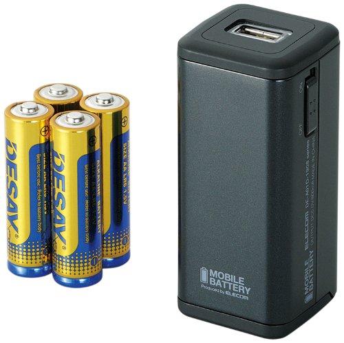 ELECOM+iPhone5%2F4S%2F4%2F3GS%2F3G%2FiPod対応+モバイルバッテリー+乾電池+ブラック+DE-A01D-1908BK
