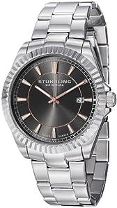 Stuhrling Original Men's 408G.331154 Aquadiver Regatta Marine Swiss Quartz Date Grey Dial stainless Steel Bracelet Watch