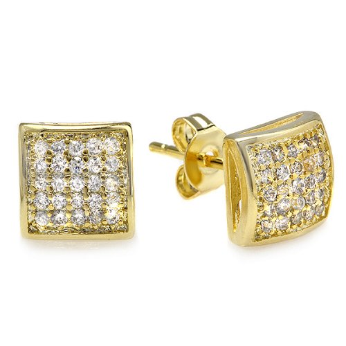 18K Yellow Gold Plated Stud Earrings Kite Shaped White Round Cubic Zirconia Iced Pushback Post (7.5 MM x 7.5 MM)