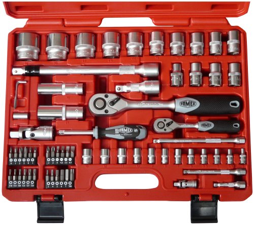 FAMEX Tools  580-SD-20   66 Piece High Class Socket Set, Metric,  1/2- 1/4 Inch Drive