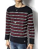 (リピード) REPIDO Tシャツ tシャツ カットソー 長袖 ロンT ロンt 長袖t メンズ ボートネック バスクシャツ クルーネック クルー 丸首 長袖パネルボーダーボートネックTシャツ ネイビー×オフホワイト Mサイズ