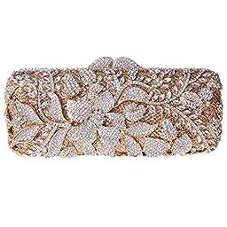Fawziya® Flower Purses For Girls Bling Rhinestone Crystal Clutch Bag-Gold
