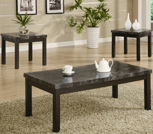 Cheap 3pc Coffee Table and End Tables Set with Marble Top in Black Finish  (VF_700385