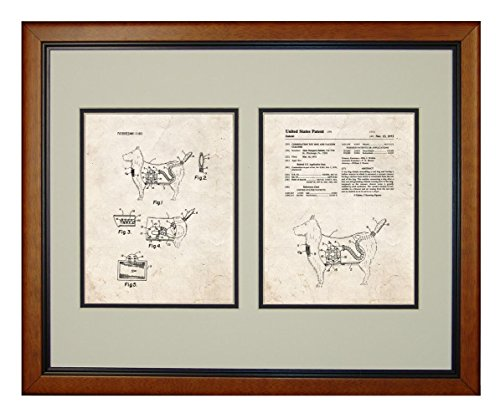 "Combination Toy Dog And Vacuum Cleaner Patent Art Old Look Print In A Honey Glazed Wood Frame (16"" X 20"")"