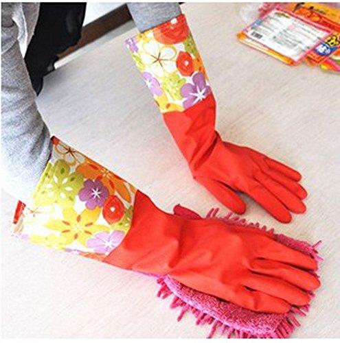 niceeshop(TM) Breit Rand Samt Wasserdicht Antirutsch Haushalt Reinigen Gummi Latex Warm Handschuhe,Rot
