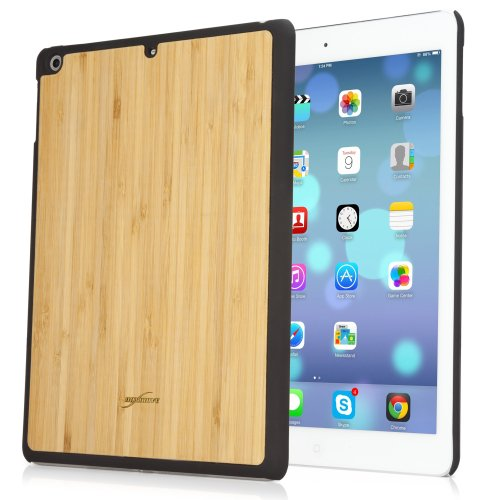 BoxWave True Bamboo Minimus iPad Air Case, Genuine Bamboo Wood Backing Shell Case Cover with Durable Plastic Edges with Smooth Matte Finish (Jet Black)