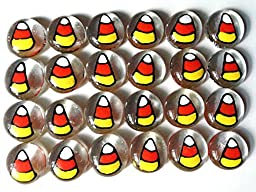 Jazzy Glass Gems, Hand Painted Set of 24, Party Favor, Decoration, Mosaic Tile, Crafts etc., Candy Corn