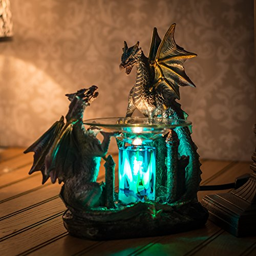 Dragon polyresin oil warmer with dimmer home garden decor candle warmers - Dragon oil warmer ...