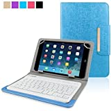 Kamor® Universal 7 8 inch Tablet Oracle PU Leather Case Cover with Bluetooth Wireless Keyboard for iPad mini / iPad mini 2 / iPad mini 3, Samsung Galaxy Tab (8 Inch) /Support Android / iOS / Windows Systems, Comfortable Low-Profile Keys (Blue)