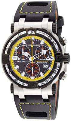 Chase-Durer Men's 224.2BY-LEA Trackmaster Pro Chronograph 2nd Edition Stainless Steel Watch with Yellow-Stitched Leather Band