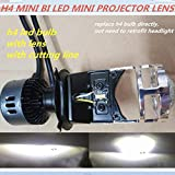 HATCHMATIC DLAND OWN Smart Mini H4 Easy Installation BI LED Projector Lens KIT, Small Size 35W Power Bulb LAMP with Excellent Beam: H4 Mini BI LED Lens