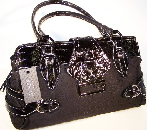 Buy GUESS HANDBAGS; GUESS DIAMOND G SIGNS SATCHEL (Black)