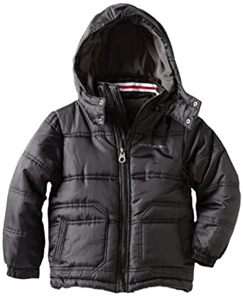 Calvin Klein Big Boys' Bubble Jacket, Black, Large