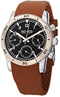 SO&CO York Men's 5018B.3 Yacht Club Analog Display Analog Quartz Brown Watch from SO&CO New York