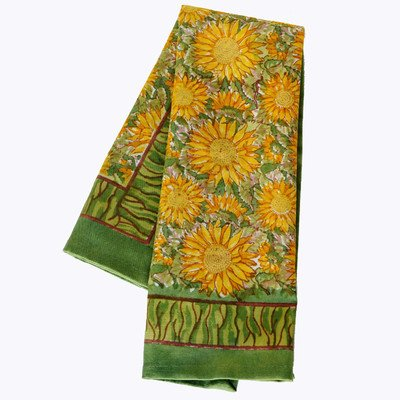 Couleur Nature Sunflower Tea Towels, 20-inches by 30-inches, Yellow/Green, Set of 3