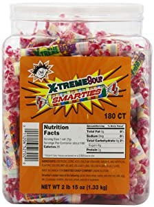 Smarties Candy Rolls, X-Treme Sour, 180 Count