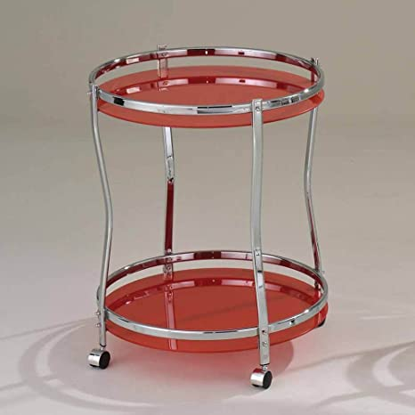 1PerfectChoice Corey Modern Kitchen Round Serving Cart Red Glass Chrome 2 Shelves Rolling Base