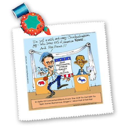 Qs_76424_1 Londons Times Gen 2 Cartoons - Politics Current Events - Romney Throws Zingers At Obama - Quilt Squares - 10X10 Inch Quilt Square front-238324