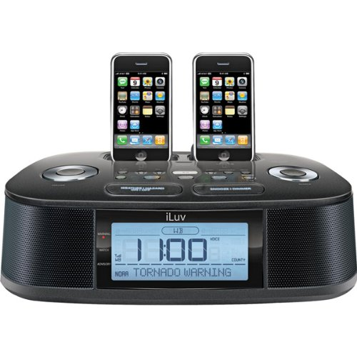 hi fi dual alarm clock radio with dual dock for ipod iphone and noaa s a m e weather hazard. Black Bedroom Furniture Sets. Home Design Ideas